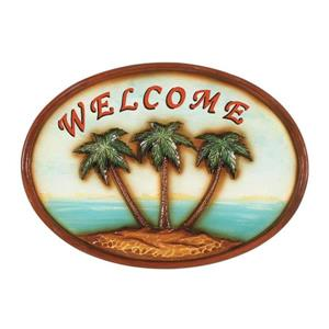 RAM Gameroom Products Framed Welcome Sign with Palm Trees 12-in x 17-in Wall Art
