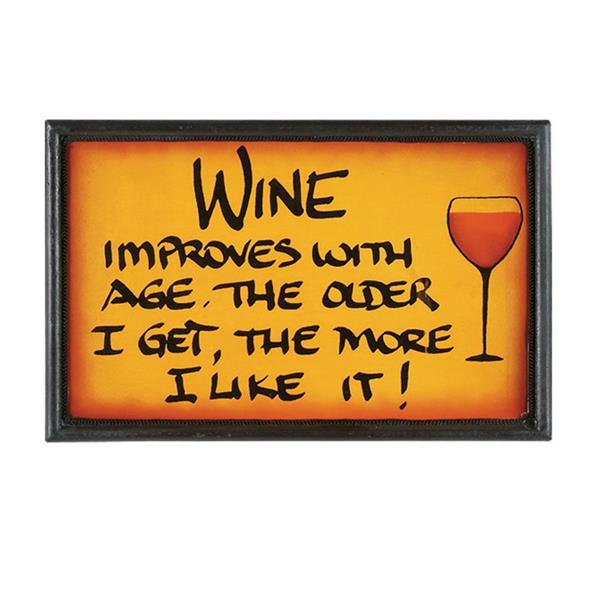 RAM Game Room Products Framed Wine Improves Sign 8-in x 13-in Wall Art