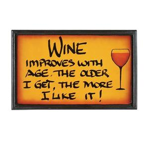 Framed Wine Improves Sign 8-in x 13-in Wall Art