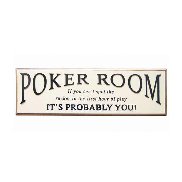 RAM Game Room Products Framed Poker Room Sign 9-in x 29.5-in Wall Art