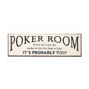 Framed Poker Room Sign 9-in x 29.5-in Wall Art
