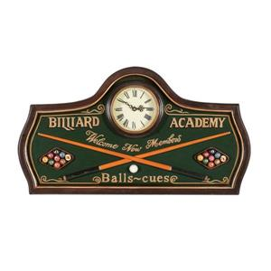 RAM Game Room Products Green Hand Painted Billiard Academy Wall Clock