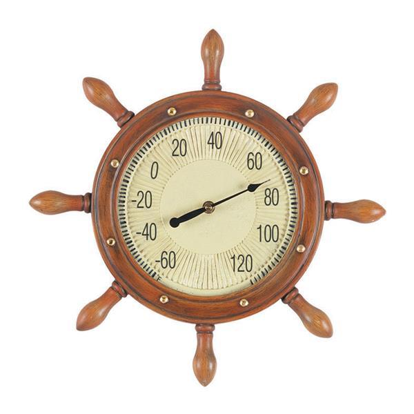 RAM Gameroom Products Wireless Indoor/Outdoor Handpainted Captain's Wheel Thermometer