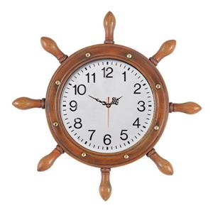 RAM Gameroom Products Brown Captains Wheel Analog Round Outdoor Wall Clock