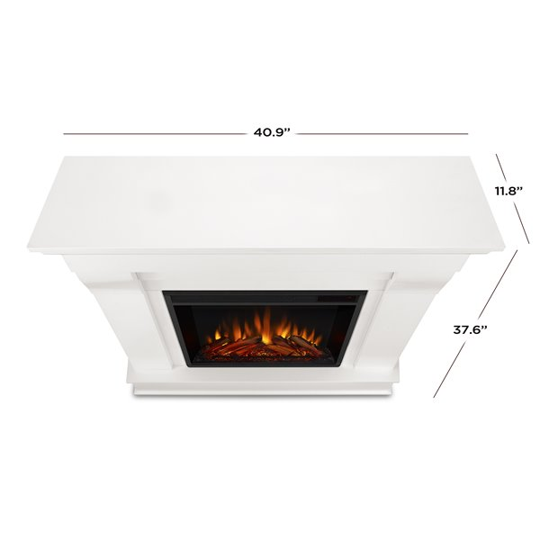 Real Flame 40.9-in W White LED Electric Fireplace
