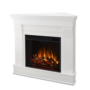 Real Flame Chateau Electric Corner Fireplace - Wood - White