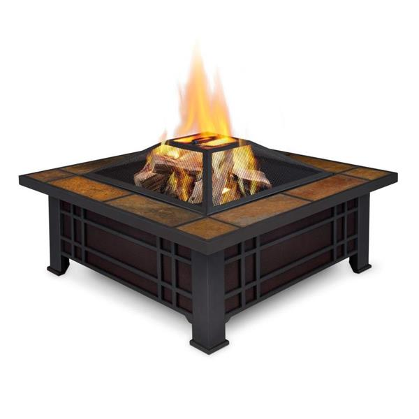 Real Flame Black Steel Morrison Square Fire Pit