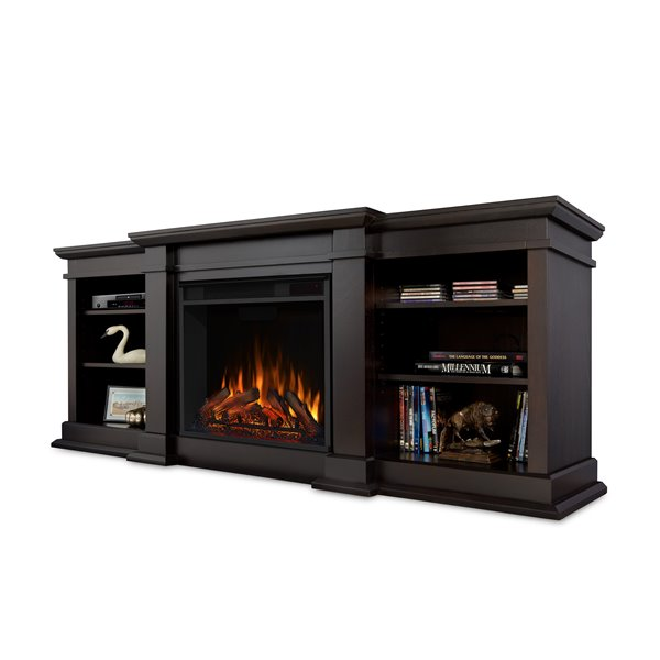Real Flame 72-in W Dark Walnut LED Electric Fireplace