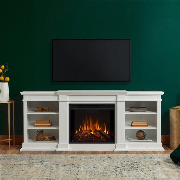 """Foyer électrique intérieur Fresno Real Flame, 72"""", blanc"""