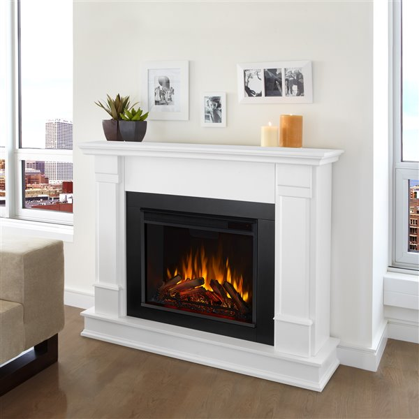 """Real Flame Silverton Indoor Electric Fireplace - 48"""" - White"""