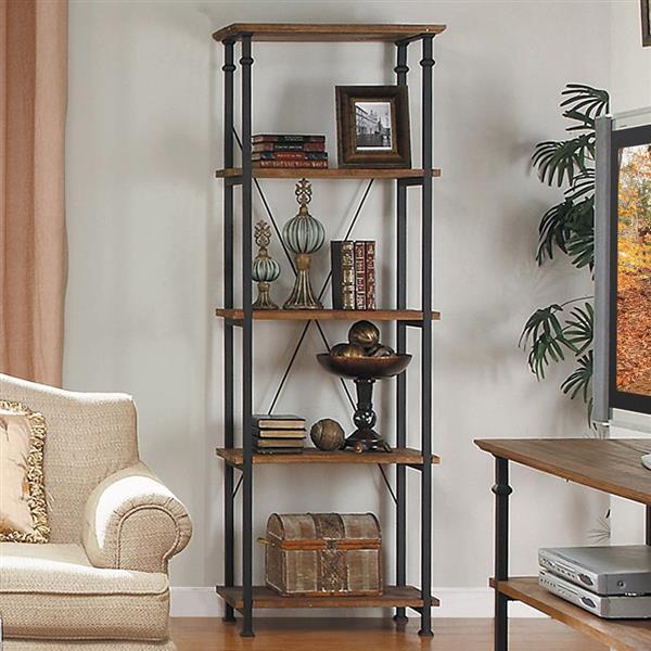 Homelegance Factory 74.50-in x 15-in x 26-in Rustic Oak Metal 4-Shelf Bookcase
