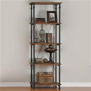 Homelegance Factory 74.50-in x 15-in x 26-in Rustic Oak Metal 4-Shelf Bookcase