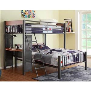 Homelegance Division Light Graphite Twin Over Full Bunk Bed