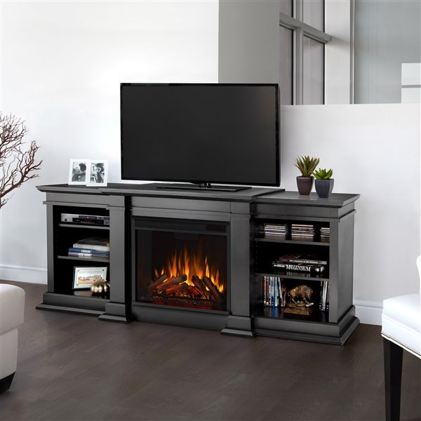 Real Flame 72-in W Black Led Electric Fireplace