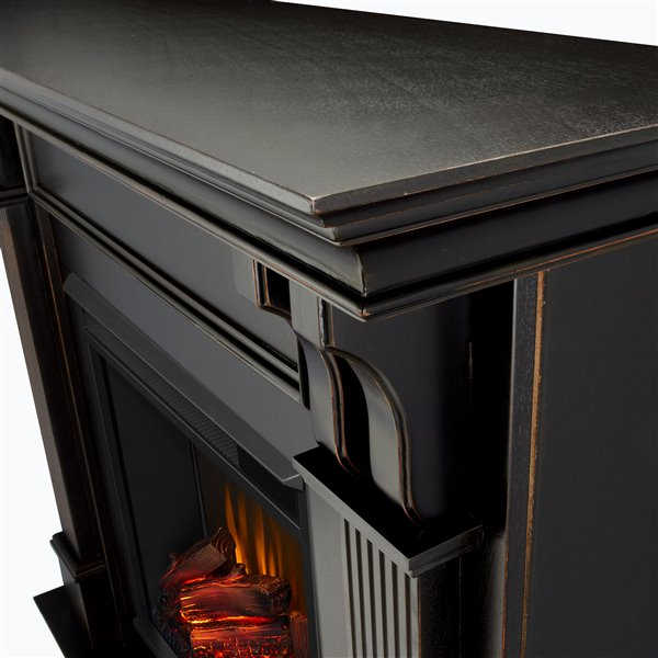 Real Flame Fan Forced 48.3-in W Black Wash Electric Fireplace