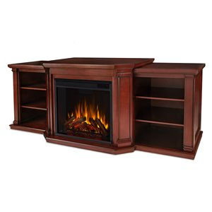 Real Flame 74.25-in W Dark Mahogany Fan-forced Electric Fireplace