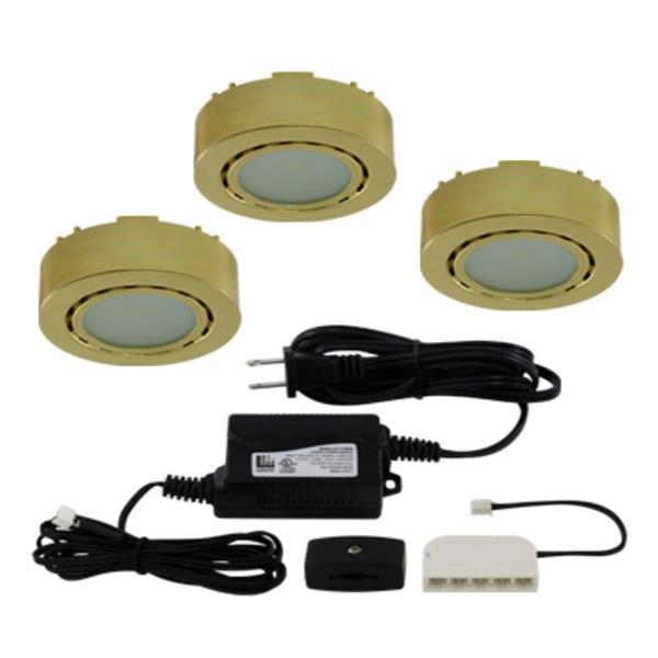 Liteline Corporation LED 3K 12V 2W Polished Brass 3-Puck Light Kit