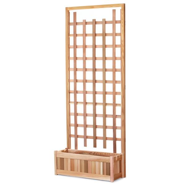 All Things Cedar 84-in x 33-in x 12-in 2 Pieces Natural Cedar Planter with Trellis Screen