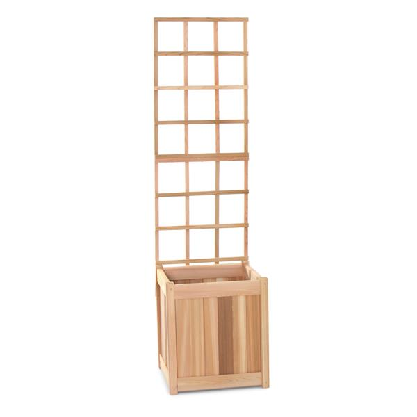 All Things Cedar 60-in x 18-in x 18-in 2 Pieces Natural Cedar Planter with Trellis