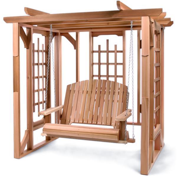 All Things Cedar 74-in x 82-in Natural Pergola Swing Set