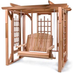 All Things Cedar 74-in x 82-in Natural Pergola Swing Set