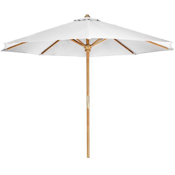 Parasol en teck pour le patio, Blanc, 10'