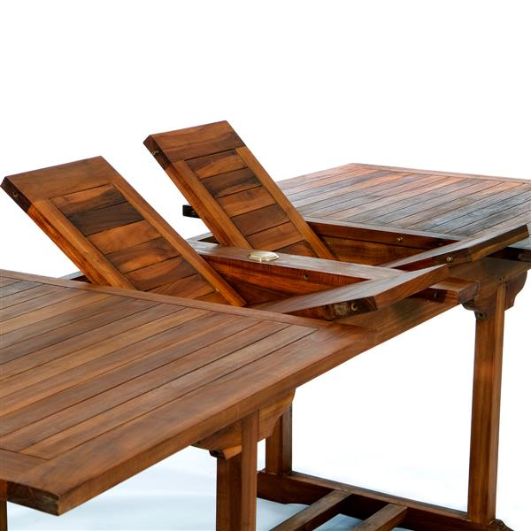 """Table extensible All Things Cedar en teck, 50"""""""