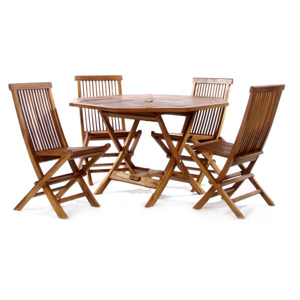All Things Cedar 5-Piece Teak Octagon Table Folding Chair Outdoor Dining Set
