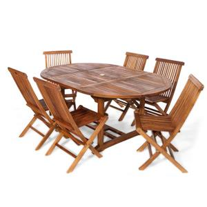 All Things Cedar 7-Piece Teak Oval Table Folding Chair Outdoor Dining Set