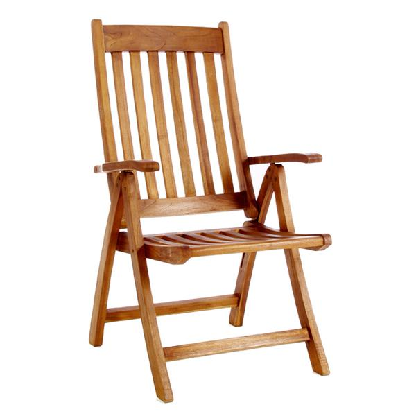 All Things Cedar 5-Piece Teak Butterfly Extension Folding Arm Chair Outdoor Dining Set