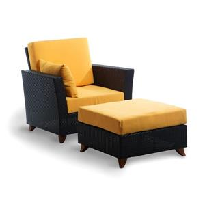 All Things Cedar Brown & Yellow Outdoor Rattan Chair and Ottoman Set