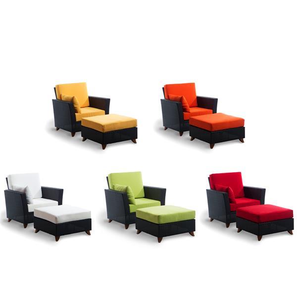 Ensemble de chaise et ottoman pour le patio, Brun et rouge