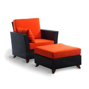 All Things Cedar Brown & Orange Outdoor Rattan Chair and Ottoman Set