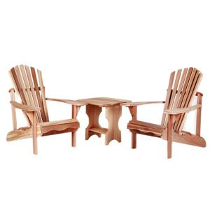 All Things Cedar 3 pc Natural Adirondack Chair Set