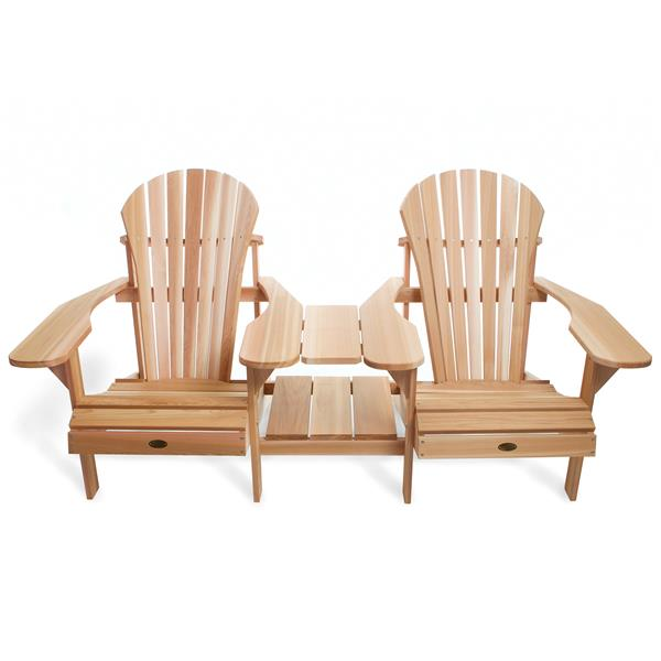 All Things Cedar Muskoka Natural Tête-à-Tête Adirondack Chair Set