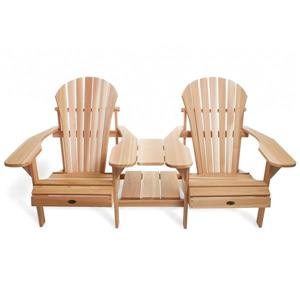 All Things Cedar Muskoka Natural Tête-à-Tête Adirondack Chair Set