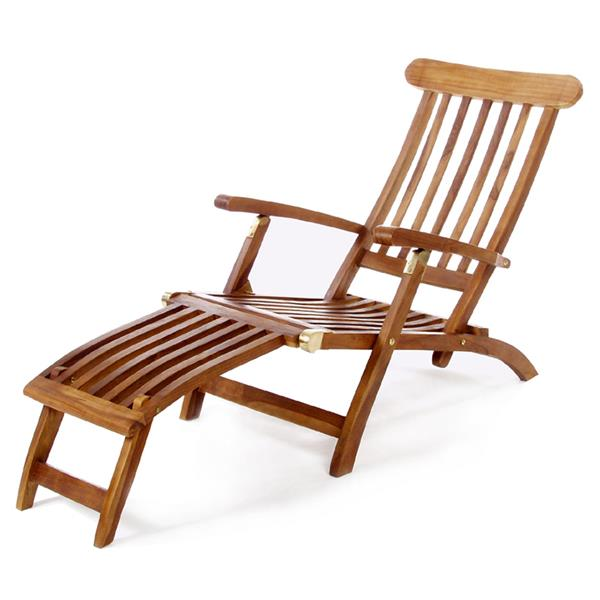 All Things Cedar Steamer Teak Lounge Chair
