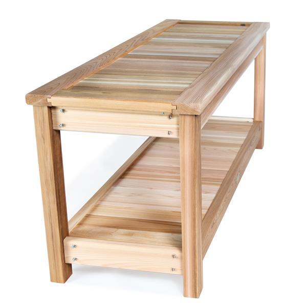 All Things Cedar 44-in x 16-in x 19-in Cedar Sauna Bench