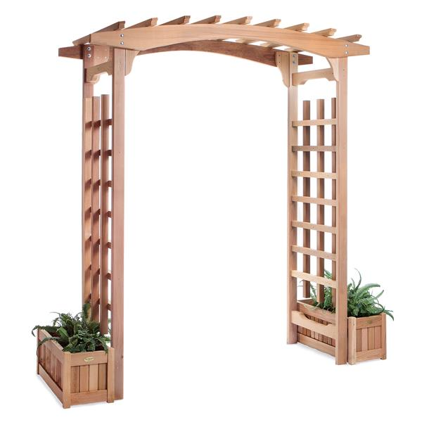 All Things Cedar Natural Cedar Arbour with Planters