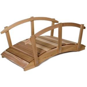 All Things Cedar 8-ft Western Red Cedar Garden Bridge with Rails