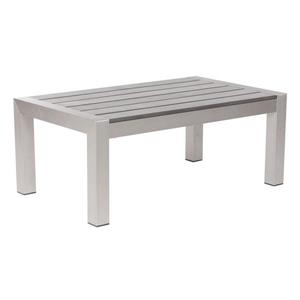 Zuo Modern Cosmopolitan 39.4-in x 23.6-in x 15.8-in Brushed Aluminum and Faux Wood Rectangular Coffee Table