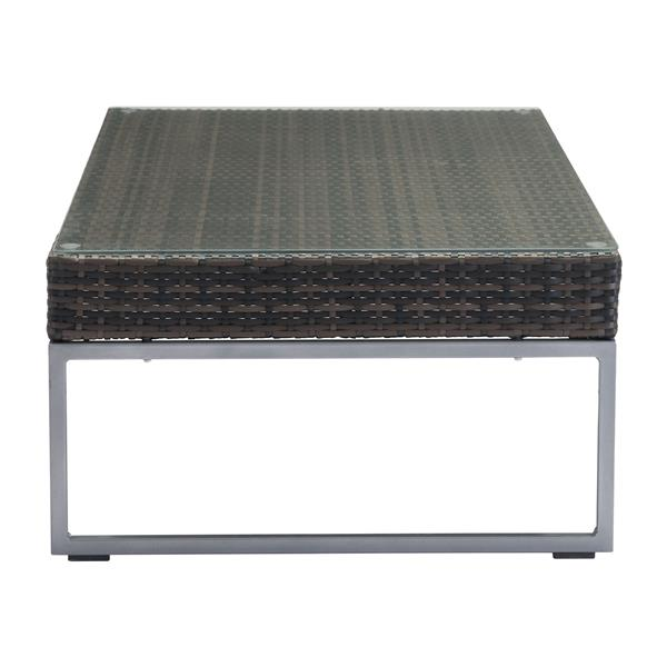 """Zuo Modern Malibu 47""""L Rectangular Coffee Table  With Espresso Brown Aluminum Frame and Basket Weaved Tempered Glass Top"""