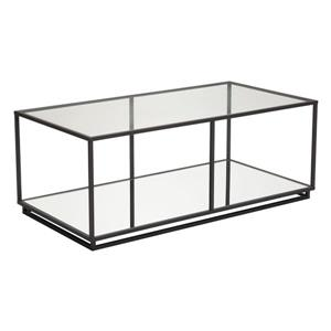 Zuo Modern Kure Rectangular Coffee Table 48- in x 24.4- in x 18.1- in With Black Steel Frame and Tempered Mirror Glass Top