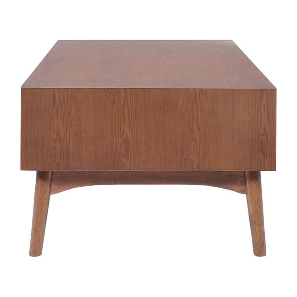 Table basse en bois d'hévéa Cosmopolitan de Zuo Modern, 47 po x 23,6 po, brun