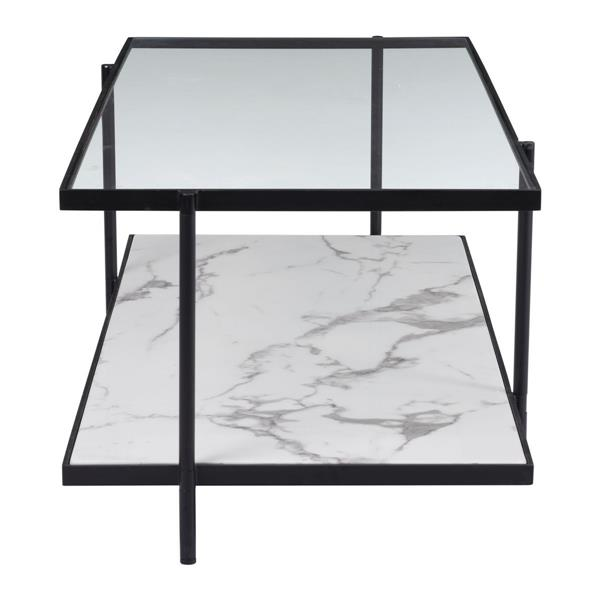 "Zuo Modern Winslett  48""L Rectangular Coffee Table With Black Steel Frame Faux Marble Bottom and Tempered Glass Top"