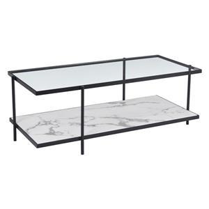 Table basse en métal Winslett de Zuo Modern, 48 po x 22 po x 60 po, structure en acier noir