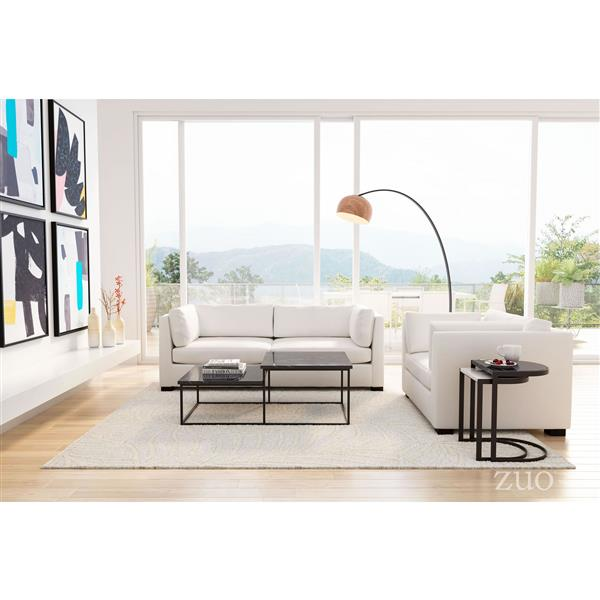 Zuo Modern Stanton 48.8-in x 24.8-in x 17.7-in With Black Steel Legs and Faux Black Marble Top  Bi-Level Coffee Table