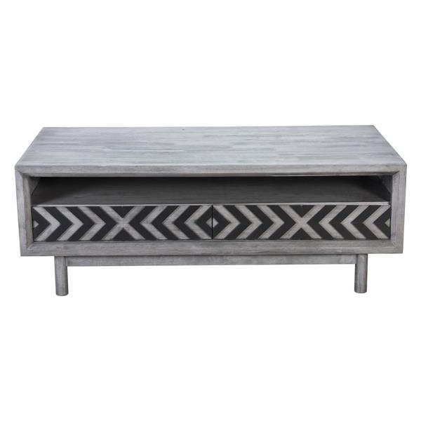 Zuo Modern Raven 48-in x 24-in x 17.5-in Grey Rubber Wood Veneer With Chevron Detail Rectangular Coffee Table