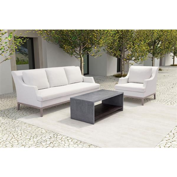Zuo Modern Mom Outdoor Coffee Table - 47.2-in x 17.7-in - Acacia Wood - Dark Grey