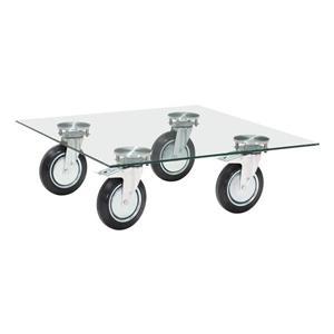 Table basse avec roulettes Belle de Zuo Modern, 40,2 po x 40,2 po, verre transparent